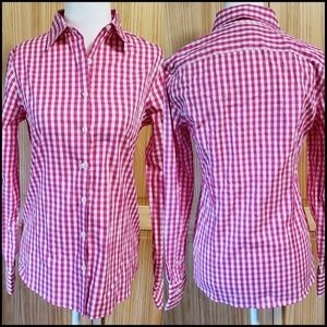 Lands End Gingham Button Up